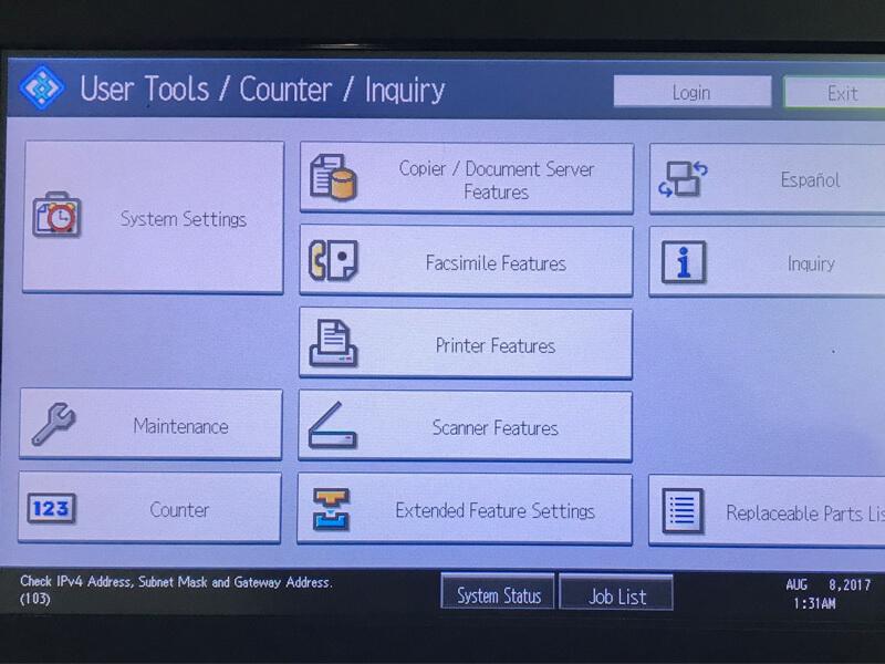 Cách kiểm tra IP tại máy Photocopy Ricoh