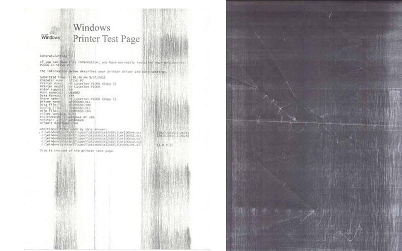 Bản in bị lỗi đên nền một phần và toàn bộ trang