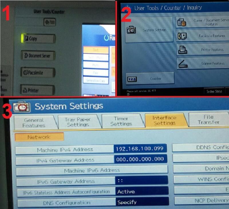 Thiết lập IP trên máy photocopy