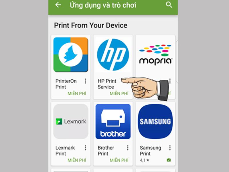 Hình ảnh minh họa sử dụng máy in qua điện thoại