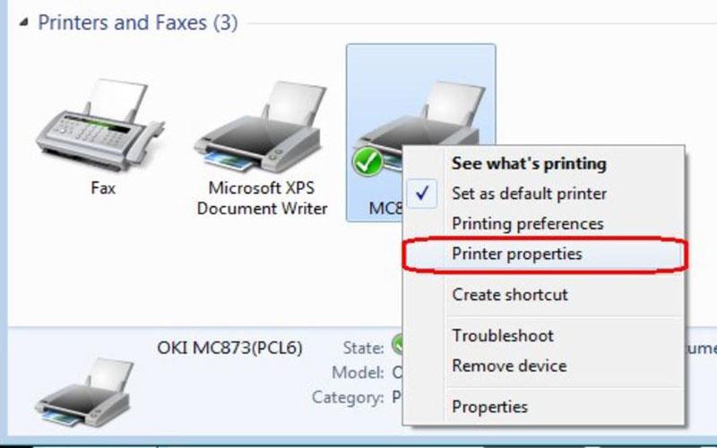Bước 3 Chọn lệnh Printer properties