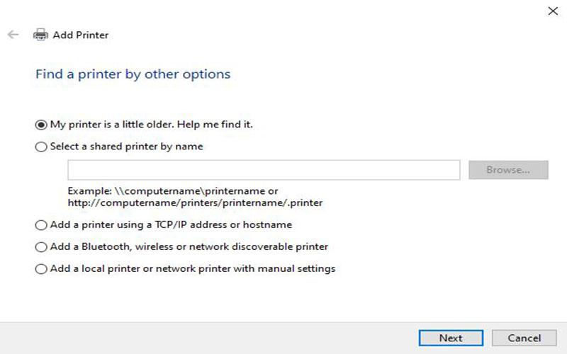 Các lựa chọn để xử lý lỗi không tìm thấy máy in