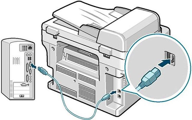 Dây kết nối máy tính và máy photo bị lỏng