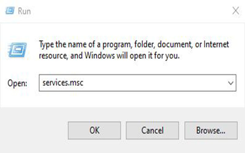 Vào menu Start chọn Run và gõ services.msc