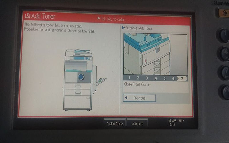 Máy photocopy báo lỗi add toner