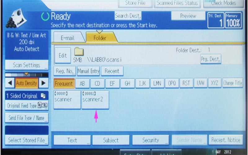 Thiết lập lệnh scan trên mấy photocopy Ricoh