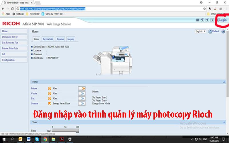 Đăng nhập vào trình quản lý của máy photocopy Ricoh