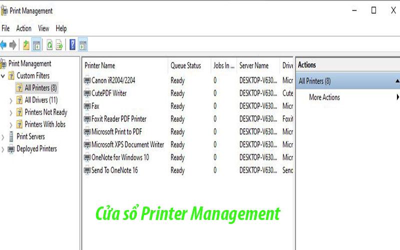 Cửa sổ Printer Managemnet