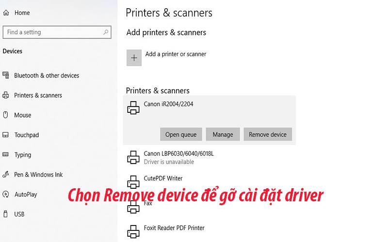 Chọn Remove device để gỡ cài đặt