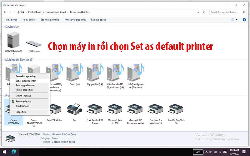 Chọn máy in rồi chọn Set as default printer