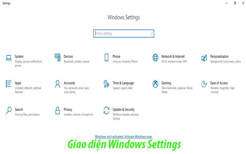 Giao diện Windows Setting