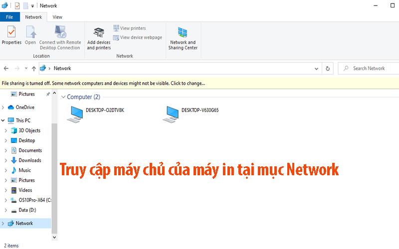 Truy cập máy chủ của máy in tại mục Network